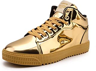 Générique Hommes Casual Chaussures Imperméable Respirant À Lacets Haute Plateforme en Cuir Verni Baskets en Plein Air pour...