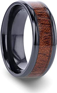 Thorsten Dominica | Titanium Rings for Men | Lightweight Titanium | Comfort Fit | Black Titanium Band with Polished Bevels and Exotic Mahogany Hard Wood Inlay - 8 mm