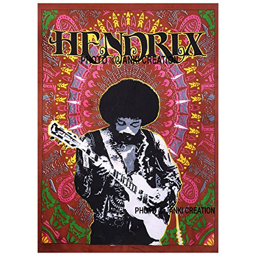 Wandbehang Jimmy Hendrix, Größe 30 x 40, indische Baumwolle, Mandala-Hippie-Poster, indisches Boho-Mandala-Design, Wohnheim-Dekor, aus Baumwolle, Überwurf