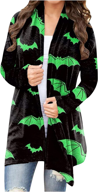 Women's Halloween Print Cardigan Sweaters Long Sleeve Asymmetric Open Front Long Top