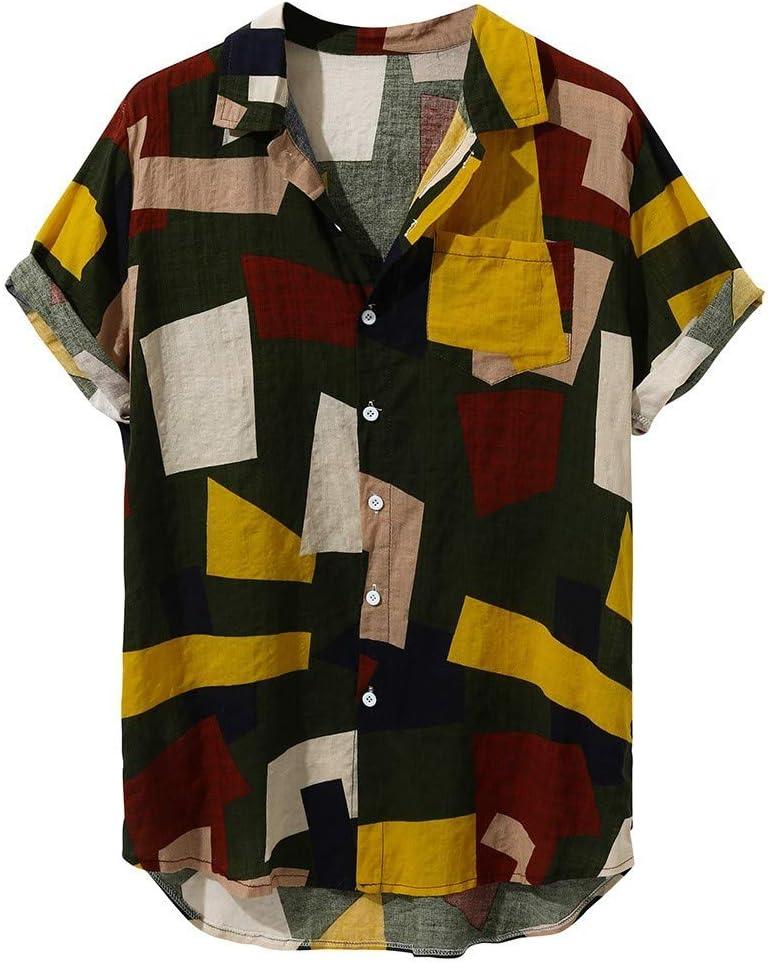 Men's Flower Casual Button Down Short Sleeve Hawaiian Beach Shirt Print Shirts A076