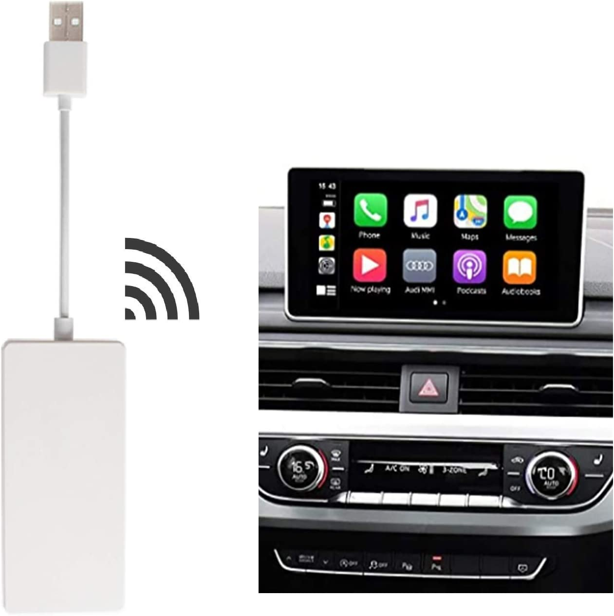 Wireless Carplay Dongle USB Wired Android Auto/Screen Mirroring SIRI Voice Control Google Maps Waze Maps for Car Android System Screen,NOT for Original Factory Car Radio White
