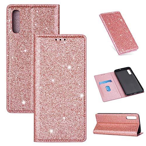 ZTOFERA Funkelnd Ledertasche für Samsung A50, Premium PU Leder Flip Brieftasche Tasche mit [Magnetverschluss] [Kickstand] [Kartensteckplatz] Superdünne Notebook Hülle für Samsung Galaxy A50-Roségold