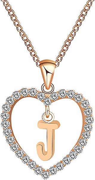 Voberry 26 Alphabet English Letters Crystal First Initial NAM Necklace Love Heart Pendant Necklace Choker For Women Girlfriend Best Friends Birthday Anniversary For Her J