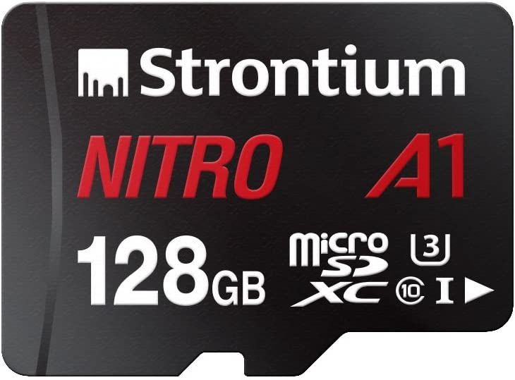 Strontium Nitro 128GB Micro SDXC Memory Card 100MB/s A1 UHS-I U3 Class 10 w/ Adapter High Speed For Smartphones Tablets Drones Action Cams (SRN128GTFU3A1A)