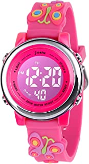 Kids Watch 3D Cartoon Toddler Wrist Digital Watch Waterproof 7 Color Lights with Alarm Stopwatch for 3-10 Year Boys Girls Little Child (Big Butterfly Rose)