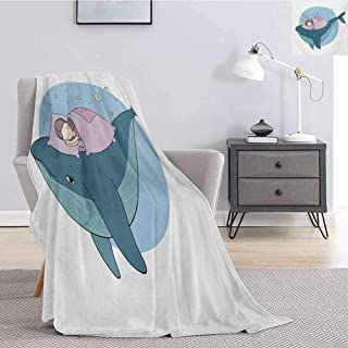 Luoiaax Whale Faux Fur Blanket Warm Cozy Hand Drawn Style Little Girl is Sleeping on a Whale Cozy Bed in The Night Sea Soft Fuzzy Blanket for Couch Bed W51 x L60 Inch Blue Lilac Yellow