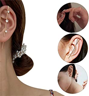 4Pcs Chic Tiny Ear Wrap Crawler Hook Earrings,Stud Cuff Earrings for Women,Piercing Earring,Safe for Sensitive Ears,Street...