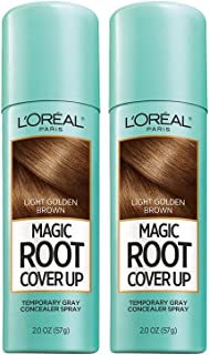 L'Oreal Paris Hair Color Root Cover Up Temporary Gray Concealer Spray Light Golden Brown (Pack of 2) (Packaging May Vary)