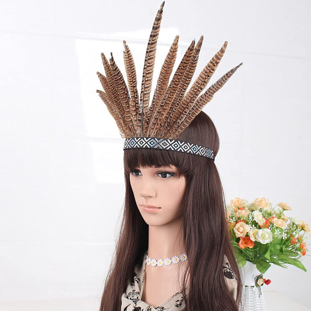 Indian Feather Fascinator Decorative Feather Fancy Party Headpiece Crown Headdress Voodoo Costume Accessories Headband for Women