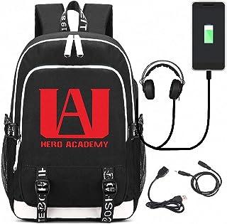 My Hero Academia Black Backpack, Anime Backpack, High School Backpack with USB Charging Port and Earphone Port, for Teenage Girls Boys
