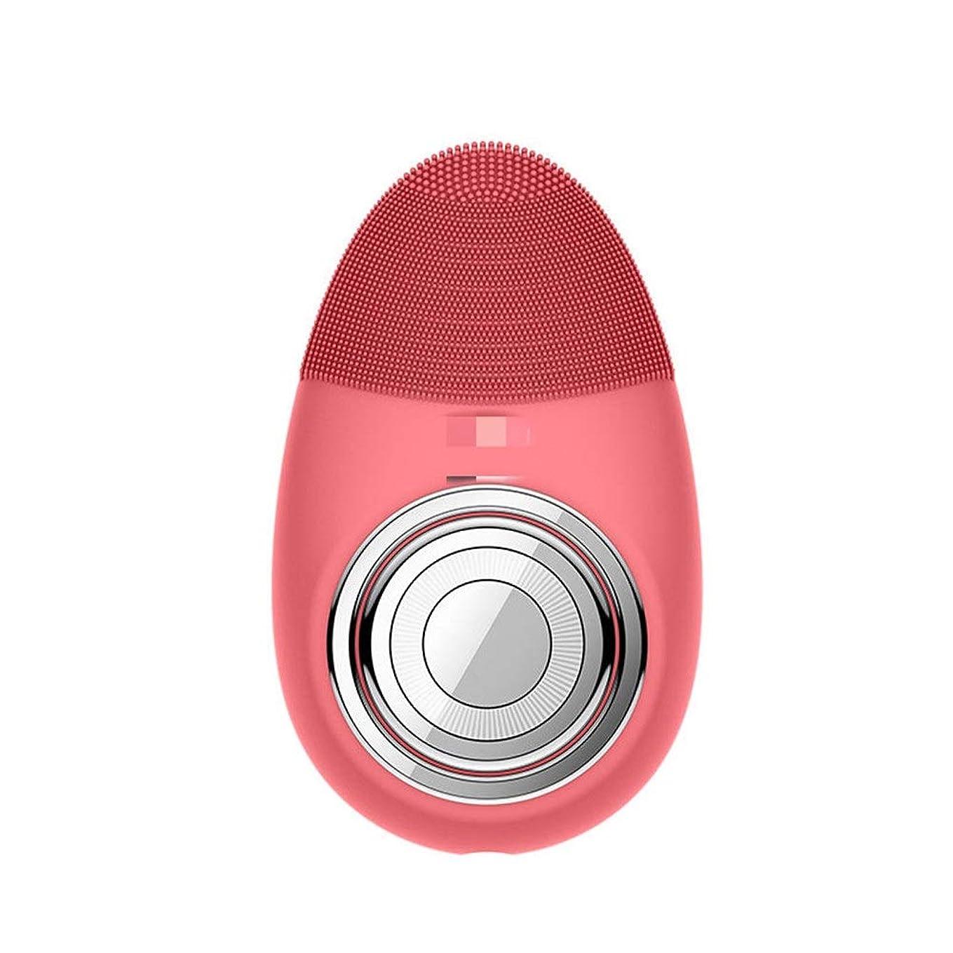 咲く結び目文言Donghechengkang 多機能電気恒温シリコーンクレンジング楽器赤灯肌清潔毛穴クリーナー輸入機器美容機器 (Color : Red)