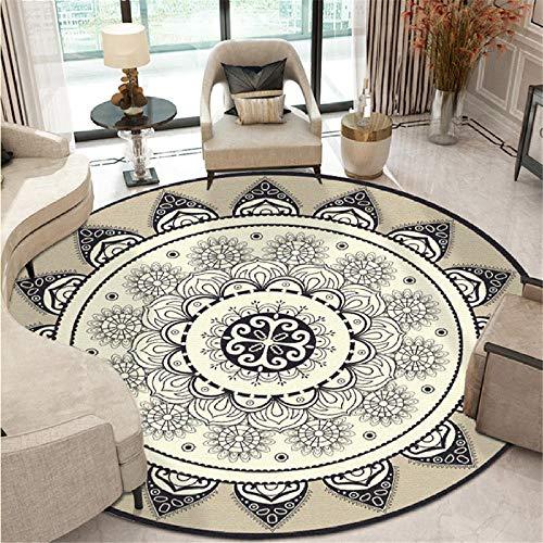 YXISHOME Teppiche Wohnzimmer Schlafzimmer Teppiche Super weiche Matten Runde ethnische Wind schwarz grau geometrische Lotus Teppich Couchtisch Home Decor 1.4M - Rund
