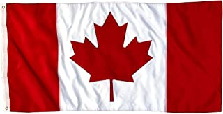 Canadian Flag - 3x5 Foot Outdoor Nylon Banner with Embroidered Maple Leaf and Individually Sewn Panels - UV Fade Resistant...