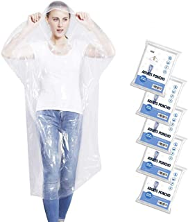 5 Pack Emergency Rain Ponchos for Adults, Disposable Drawstring Hood Poncho for Outdoors,..