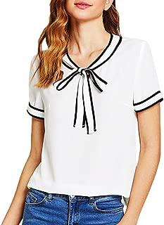 Women Casual Short Sleeve Bowknot Peter Pan Collar Striped Tops T-Shirt Blouse