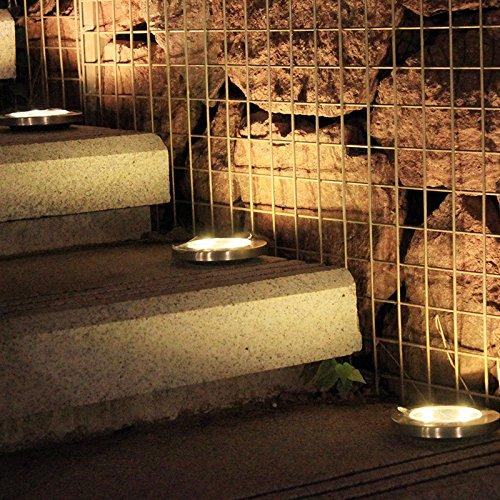 Gshy - Lámpara solar al suelo para exterior, luz suave y cálida, con 8 LED IP65, impermeable, proyector para jardín, escalera, pasillo, camino, 4 unidades: Amazon.es: Iluminación