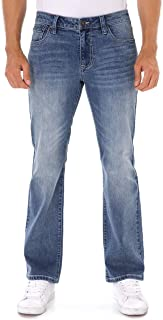 Men's Stretch Extensible Boot Cut Fit Distressed Faded Denim Jeans
