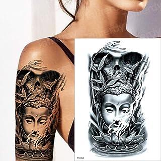 7Pcs-Tattoo Arm Chinese Buddha Lotus Seat Bamboo Tattoo Sticker Ragazza Santo DIO simbolo Wolf Forest Body 7Pcs-
