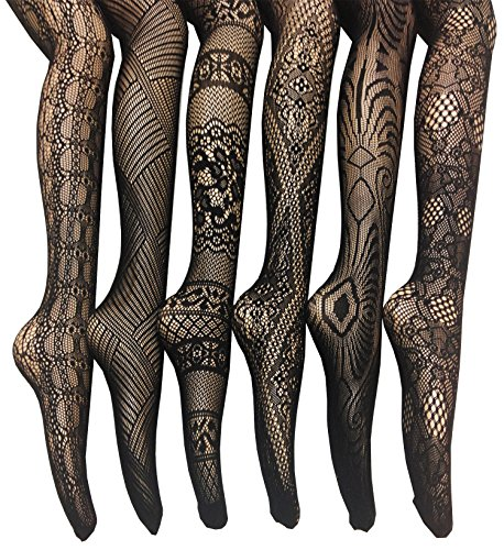 Frenchic Fishnet Lace Stocking Tights Extended Sizes (Pack of 6) (3X/4X), Black