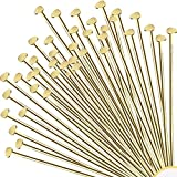 Jewelry Head Pins for Jewelry Making | Ship Straight and Unbent (150 Pieces, 3 Inches, 76mm, 22 Gauge) Flat-Head Brass Dressmaker Headpins | Jewellery Supplies Kit for Crafting Earrings and Bracelets