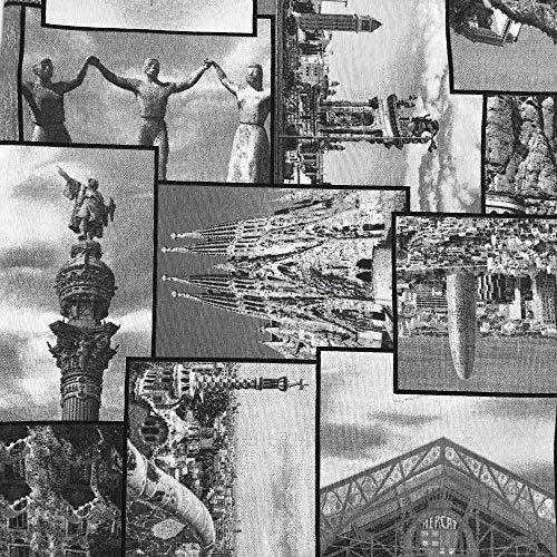 Kt KILOtela Tela de loneta Estampada - Retal de 300 cm Largo x 280 cm Ancho | Monumentos Barcelona - Negro, Blanco ─ 3 Metros