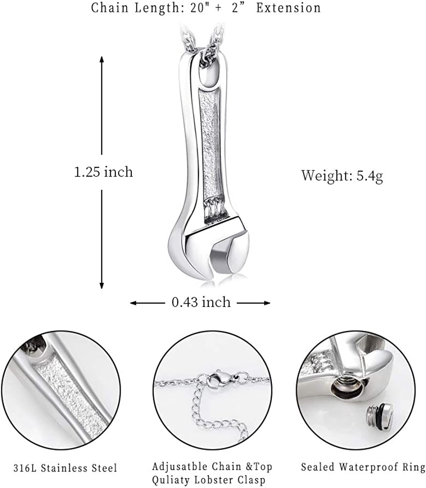 shajwo Cremation Jewelry for Ashes Stainless Steel Wrench Hammer Urn Pendant Locket Keepsake Memorial Necklace for Human Ashes Holder for Women Men
