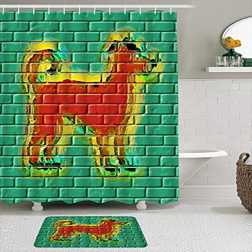 Ngkaglriap Duschvorhang Sets mit rutschfesten Teppichen,H& Graffiti Wand abstrakte Tier Ziegel Symbol Mode modernes Design, Badematte + Duschvorhang mit 12 Haken