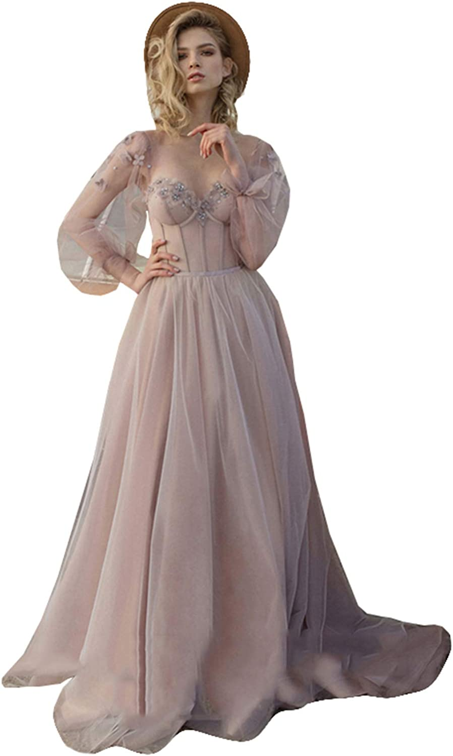 Fanciest Vintage Puffy Sleeve Prom Dresses Ball Gown for Women Formal Long Sleeve Backless Evening Gown