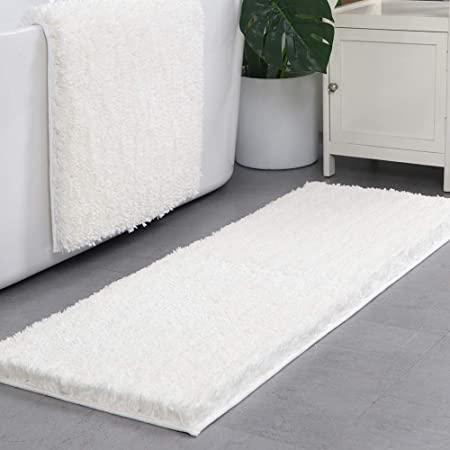 Lonior Tapis de Bain Antidérapant Tapis de Baignoire Douche Antibacterienne Longue Carpett de Salle de Bain 120x45cm Blanc
