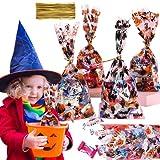Orapink 100 pezzi di sacchetti di cellophane di Halloween a tema di Halloween sacchetti regalo di violoncello 100 pezzi di nero blu argento oro lacci intrecciati per biscotti da forno