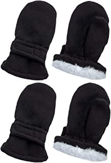 Baby and Toddler Winter Mittens - Sherpa & Fleece Baby Boy & Girl Gloves 2 Pair