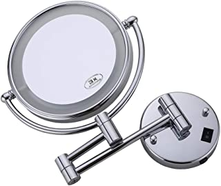 Lighted Makeup Mirror LED Lighted 3X Magnification Double Sided Swivel Vanity Mirror Extendable Bathroom Mirror Chrome Finish for Bathroom