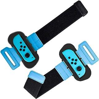 KKmoon 2 unidades de pulseira compatível com Nintendo Switch Joy-Con Faixa de pulso ajustável com prendedor de nylon compa...