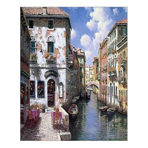 "Beautiful Modern Art Watercolor Painting Color Italy Venice Canvas Print Wall Art 16"" x 20"" Inch, Stretched and Framed Artwork Decor Wall Living room Office, Art Abstract City Landscape Watercolor Picture Canvas Wall Art Print"