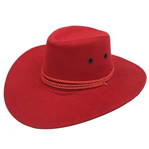 Sandy Ting Men s Outback Faux Felt Wide Brim Western Cowboy Hat 896dc93d22ec