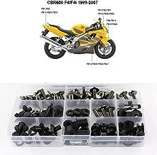 Xitomer Complete Bodywork Screws, for Honda CBR600 F4 F4I 1999 2000 2001 2002 2003 2004 2005 2006 2007, Full Set Fairing Bolts/Washers/Nuts/Clips/Grommets (Titanium)