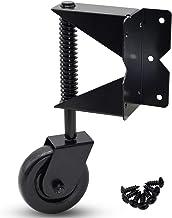 Dr.Luck 4 Inch Black Corner Spring-Load Gate Wheel Caster, Hard Nylon Wheel Swivel Style Corner Connect 7 Holes Side-Mount...