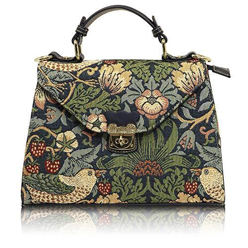 Bolsa de mujer de mano con asas y correa crossbody Henney Bear. Tiernos estampados de flores y aves