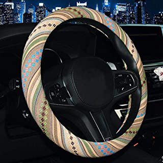 SHIAWASENA Car Steering Wheel Cover, Coarse Flax Cloth, Ethnic Style, Universal 15 Inch Fit, Anti-Slip Sweat-Absorbent (G#)
