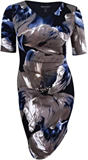 Connected Women's Petite Printed Draped Dress