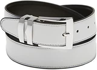 Men's Belt Reversible Wide Bonded Leather Silver-Tone Buckle WHITE/Black