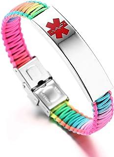 JF.JEWELRY Customizable Engraving Medical Alert ID Bracelet for Women Multi-color Optional Nylon Handmade Braided Awareness Cuff Bangle Bracelets