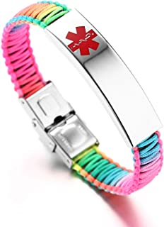 Medical Alert ID Bracelet for Women Rainbow Nylon Braid Bracelet Adjustable Free Engraving