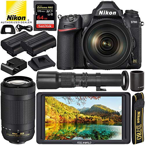 Find Discount Nikon D780 DSLR Camera with 24-120mm Lens (1619), 70-300mm Lens (20061), 500mm Preset ...