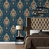 JZ·HOME 61204 Luxury Damask Non-Woven Wallpaper,Blue/Gold Embossed Texture Wall Paper Home Bedroom Living Room Hotels Wall Decoration 20.8' x 32.8ft