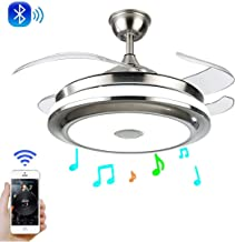 LUOLAX Modern Ceiling Fan Lights with Retractable Invisible Blades and Remote Control with Silent Motor for Living Room Bedroom Restaurant (42 Inch-Smart Bluetooth Style 1)