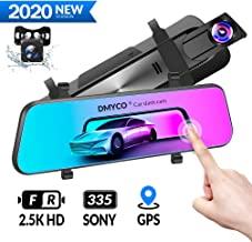 $109 » DMYCO 10'' 2.5K Mirror Dash Cam Backup Camera for Cars [GPS Version],Front and Rear View Dual Lens,Super Night Vision,Anti Glare IPS Touch Screen
