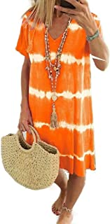 Mogogo Women's Plus-Size Loose Fit Beach Shift Casual Work Dress