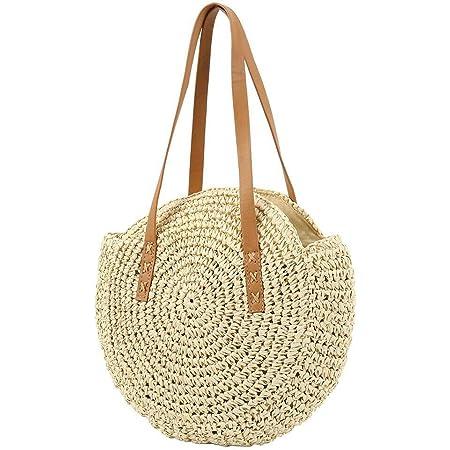 YXQSED Damen Gewebte Tasche Rund - Sommer Strandtasche Stroh Umhängetaschen Handgemachte Schultertaschen Groß Beige